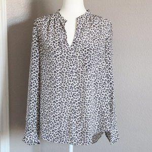 Rebecca Taylor Silk Leopard Blouse Long Sleeve 10